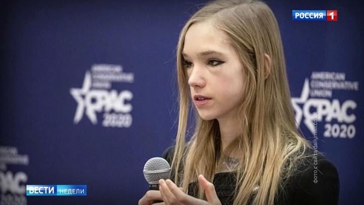 """Russisches Fernsehen: """"Anti-Greta vs. Greta: Klimaskeptikerin gegen Öko-Schizophrenie"""""""